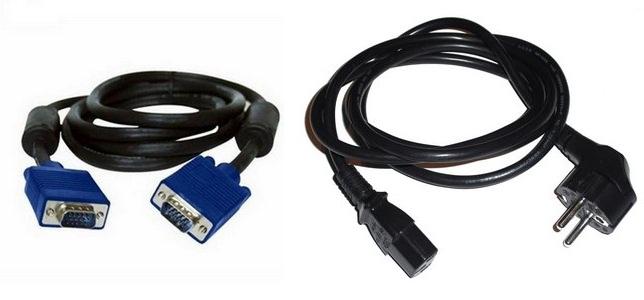 Комплект кабелей VGA экранированный с ферритовыми кольцами + Power 220v